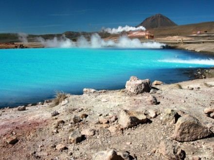Amazing color of geothermal water, rich with minerals