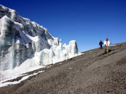 Making the side trip to Rebman Glacier after summiting