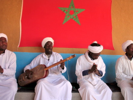 "Gnaoua musicians, the ""black Moroccans"", descendents of slaves brought to Morocco from Mali and Senegal"